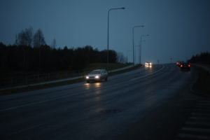 Cars on the road in the dark