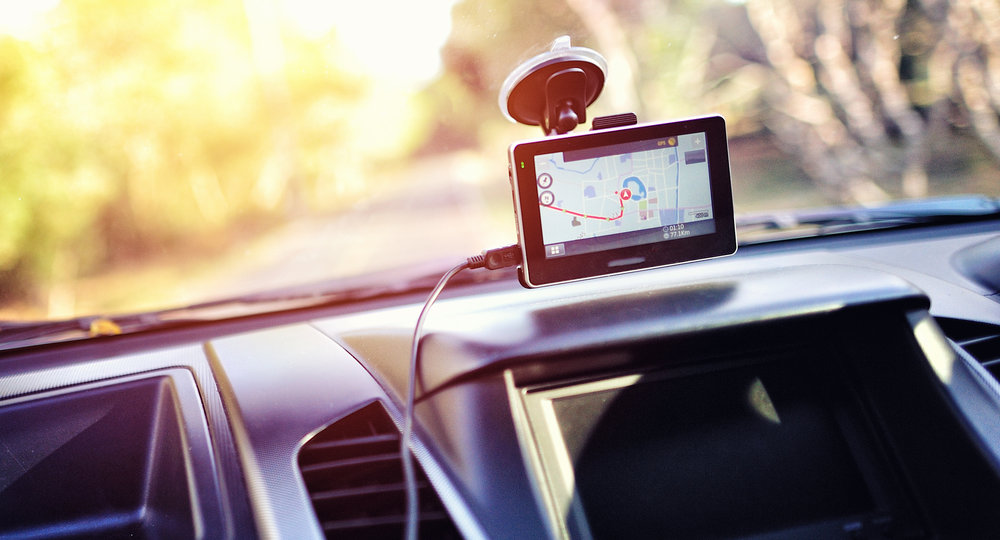 Close-up of gps navigation system In car